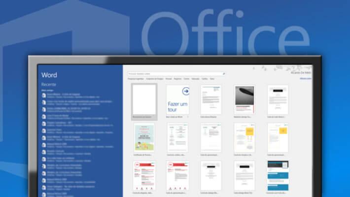Monitor exibindo a tela de início do Word 2016