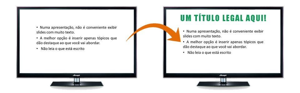 Dois monitores lado a lado; o da esquerda com um slide sem título e o da direita com título