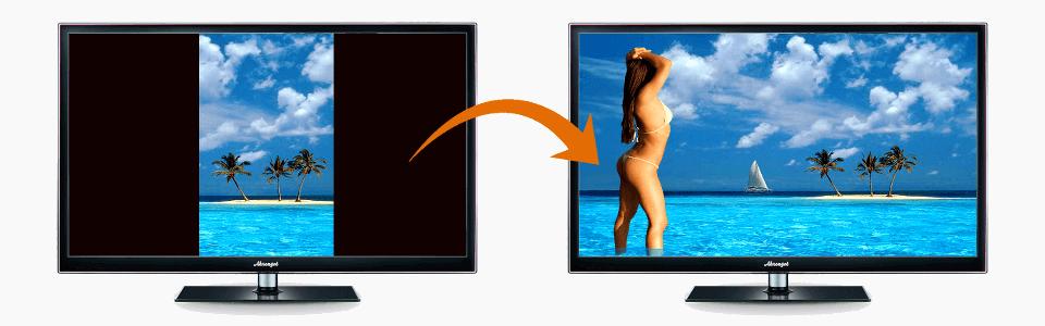 Dois monitores lado a lado; o da esquerda com uma foto tirada na posição vertical, onde aparece uma ilha com alguns coqueiros; o slide da direita mostra a mesma foto tirada na horizontal, agora aparece uma mulher de biquíni no canto esquerdo da imagem