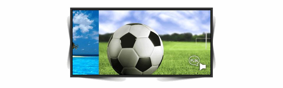 Transição de slides entre a foto da mulher de biquíni e a bola de futebol; no canto inferior direito há um ícone de som