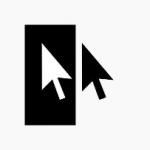 Dois ponteiros do mouse lado a lado; o da esquerda é branco sob um fundo preto; o da direita é preto sob um fundo branco