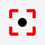 Ícone de círculo na cor preta; Ao redor dele há um retângulo na cor vermelha