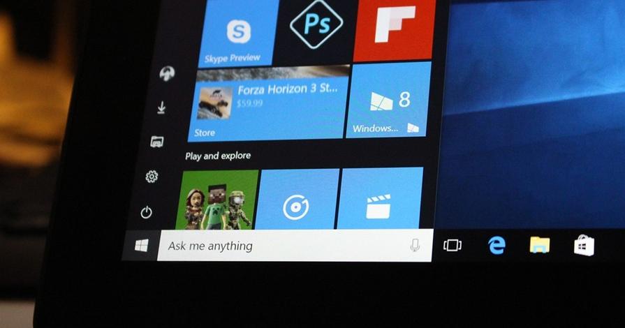 Foco no menu iniciar do Windows 10