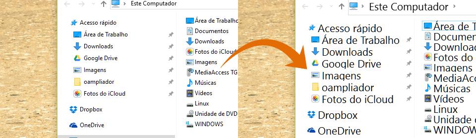 Comparativo: à esquerda o Windows Explorer com a fonte padrão e à direita com a fonte ampliada