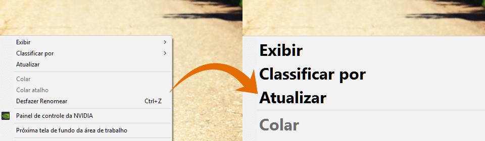 Comparativo: à esquerda um menu com a fonte padrão e à direita um menu com a fonte ampliada