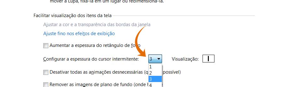 Opção configurar a espessura do cursor intermitente da Central de Facilidade de acesso; há uma seta na cor laranja apontando o local exato deste item