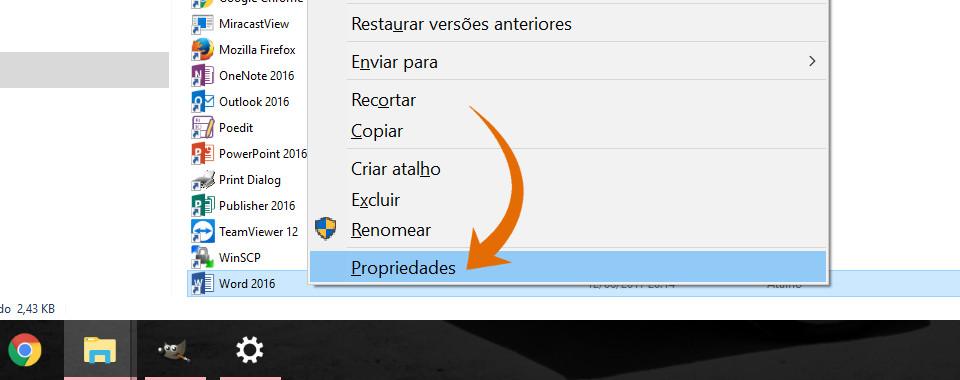 Captura de tela com o foco na opção propriedades do menu de contexto