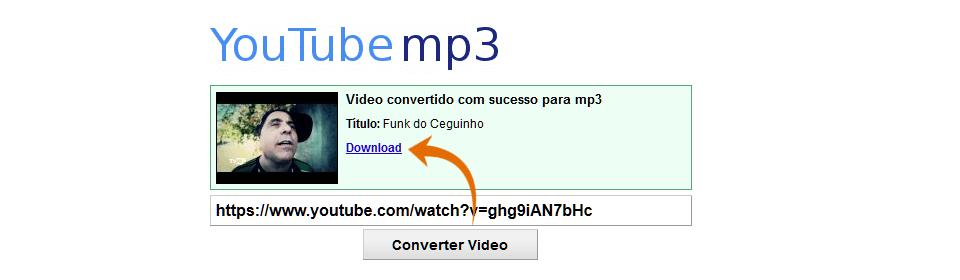 Site Youtube MP3 com o vídeo convertido para mp3 e um link para download. Há uma seta na cor laranja apontando para o link