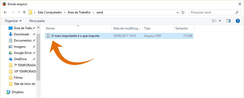 Captura de tela com a janela de diálogo enviar arquivo