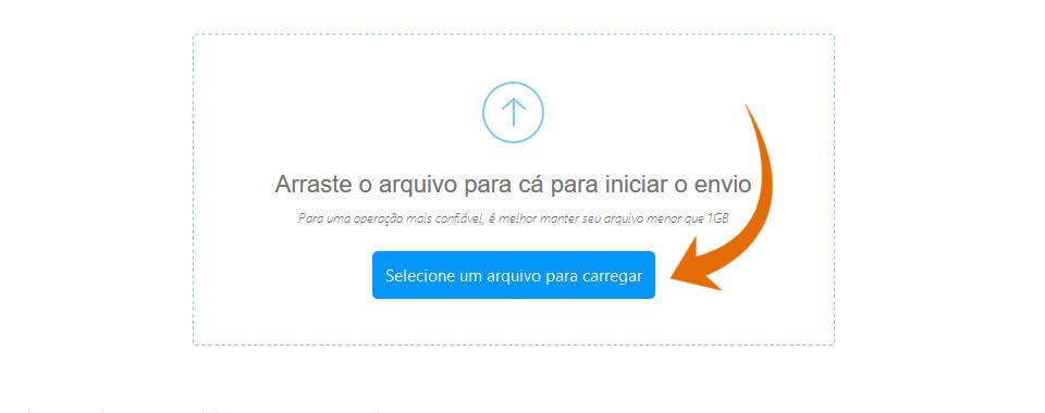 Captura de tela com o botão selecione um arquivo para carregar