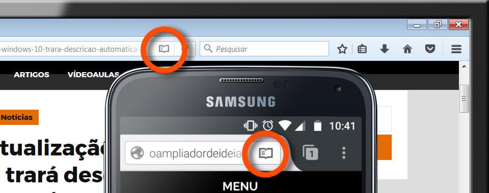 Um smartphone com a versão mobile do Firefox, em segundo plano um monitor com a versão desktop do Firefox. Ambos com um círculo laranja sob o botão modo leitor