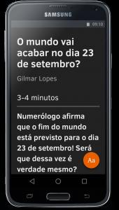 Um smartphone com o aplicativo mozilla firefox e o modo leitor habilitado