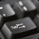 Foco na tecla tab de um teclado