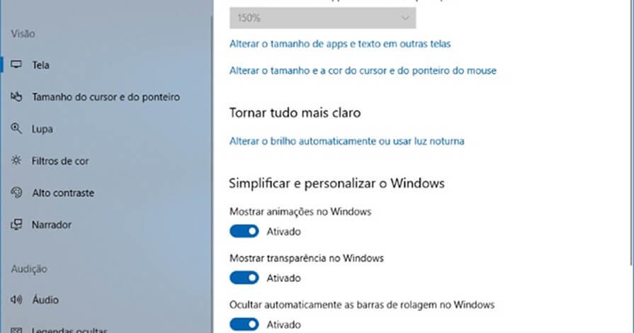 captura de tela na janela facilidade de acesso