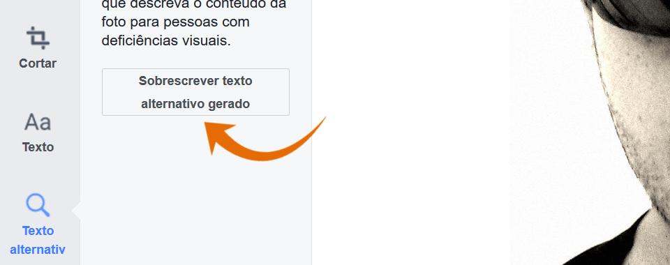 Captura de tela com foco no botão sobrescrever texto alternativo gerado