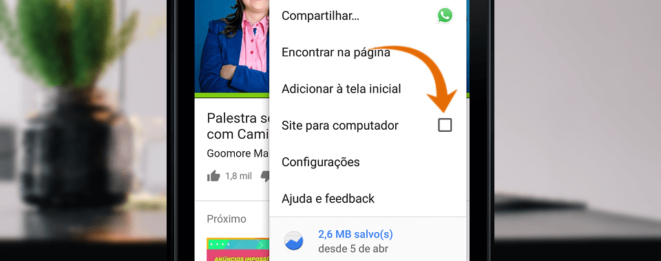 Captura de tela com o menu mais opções do navegador chrome