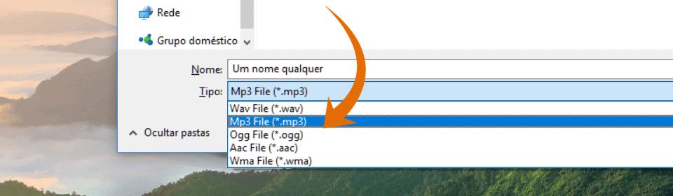 Captura de tela: converter texto em áudio mp3