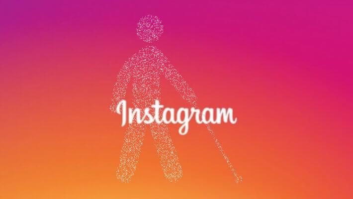 Logotipo do instagram no centro da imagem, em segundo plano ícone de pessoa com deficiência visual formado por pequenos pontos brancos