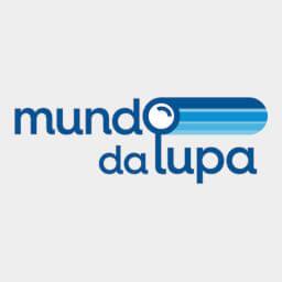 Logotipo loja com produtos para baixa visão Mundo da lupa