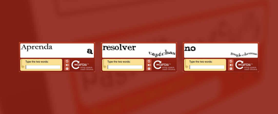 Em fundo vermelho, escrito em letras embaralhadas, simulando captchas, aprenda a resolver captchas no chrome
