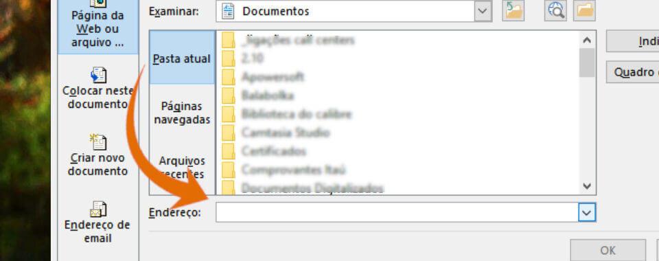Captura de tela, janela inserir endereço de internet