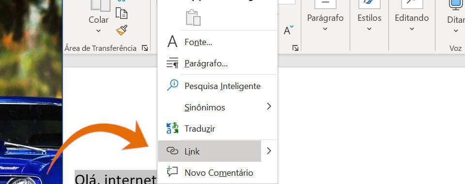Captura de tela, menu de contexto na opção link