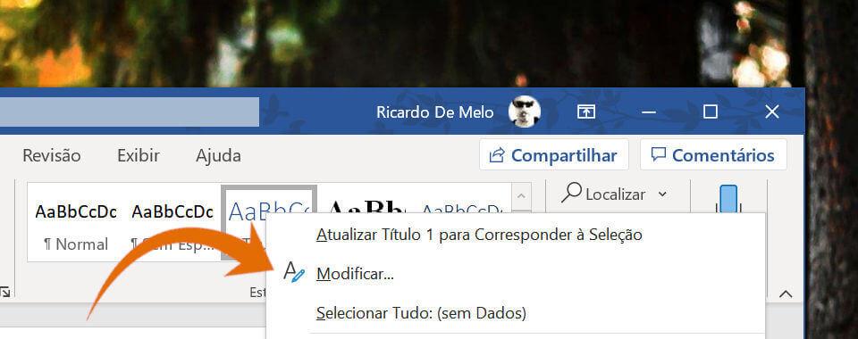 Captura de tela, menu modificar título