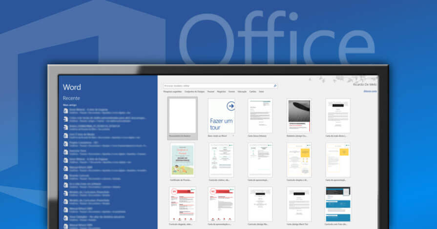 Captura de tela janela de início do word