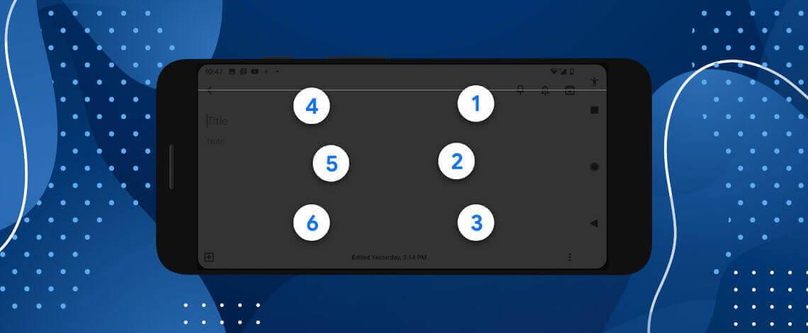 ilustração de celular com teclado em braille em destaque na tela