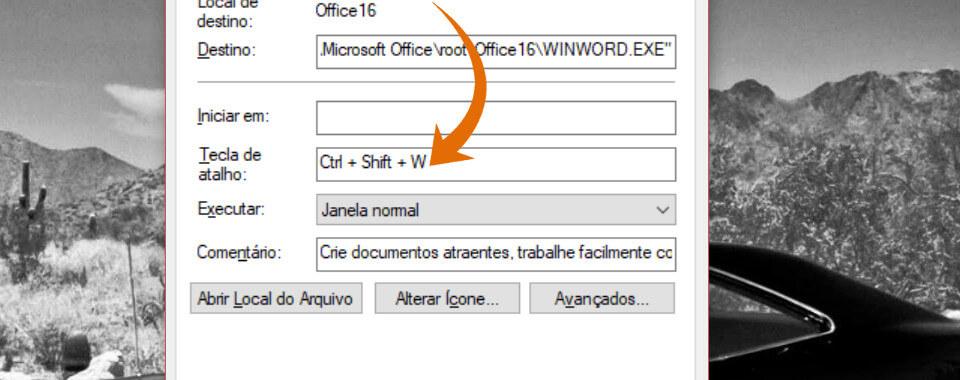 Janela propriedades do programa para criar teclas de atalho no Windows